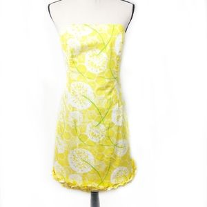 Lilly Pultizer Floral Yellow Strapless Dress 10